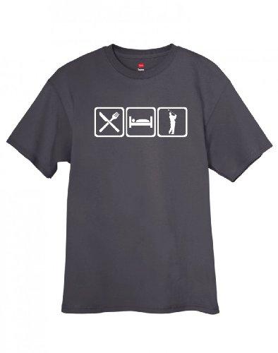 ShirtLoco Men's Eat Sleep Golf T-Shirt, Smoke Gray Extra Large