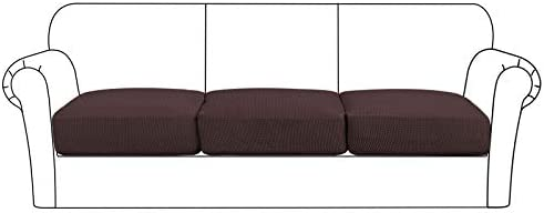 TIENCIY High Stretch Slipcover Jacquard Cushions Covers Furniture Protector for Sofa and Couch Seat 2-Piece loveseat Cushion,Black