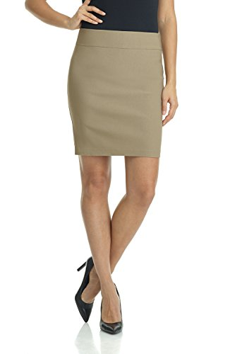 Rekucci Women's Ease in to Comfort Stretchable Above The Knee Pencil Skirt 19'' (X-Small,Oatmeal) by Rekucci