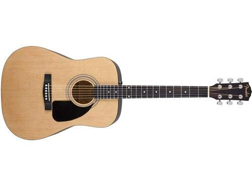 Fender FA-100 Beginner Acoustic Guitar with Gig Bag, Dreadnought Body Style, Natural Finish, Laurel Fretboard ()