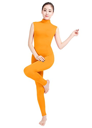 Female Orange Jumpsuit Costume (Texmex High Neck Unitard Tank Jumpsuit Full Body Leotard Women Orange S)