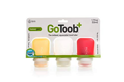 0bbf225abaf5 humangear Gotoob+ Silicone Travel Bottle with Locking Cap, 3-Pack, Small  (1.7oz), Clear/Red/Orange