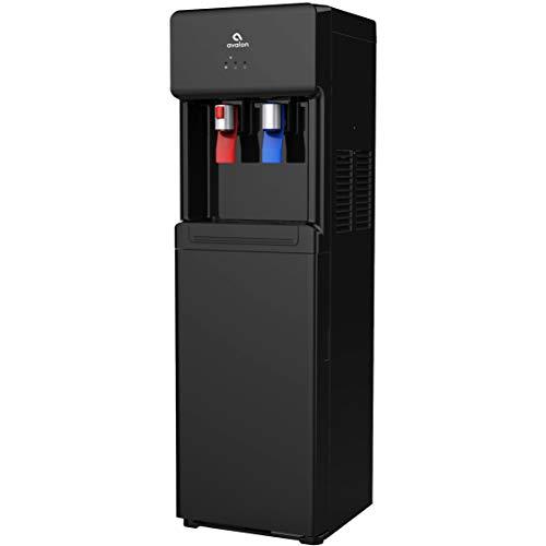 Avalon A6BLK A6 Bottom Loading Cooler Dispenser-Hot & Cold Water, Child Safety Lock, Innovative Slim Design (Black), free standing, Black Freestanding Bottom Freezer Refrigerator