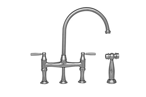 Queenhaus dual solid lever handle bridge kitchen faucet