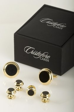 Double Circle Cufflinks (Cufflinks and Studs - Double Circle Edge in Gold Trim)