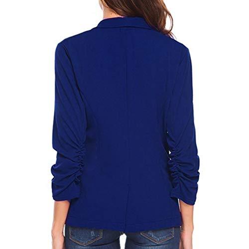 lgant 3 Bringbring 4 de Bleu Couleur Manteau Slim Unie Blazer Veste Manches Travail Femme q8axnY