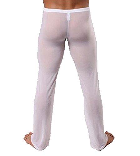 YiZYiF Men's Mesh Long Pants Bottoms Underwear Casual Wear Homewear Gym Trousers White X-Large