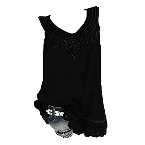 iYBUIA Women O-Neck Sleeveless Pure Color Lace Plus Size Vest Loose T-Shirt Blouse with Hollow Hem Black by iYBUIA (Image #1)