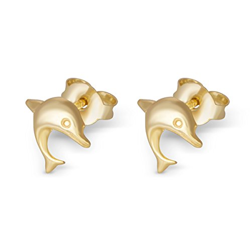 14K Yellow Gold Plated Sterling Dolphin Stud Earrings Girls Teens Women - Nfl Solid Earrings