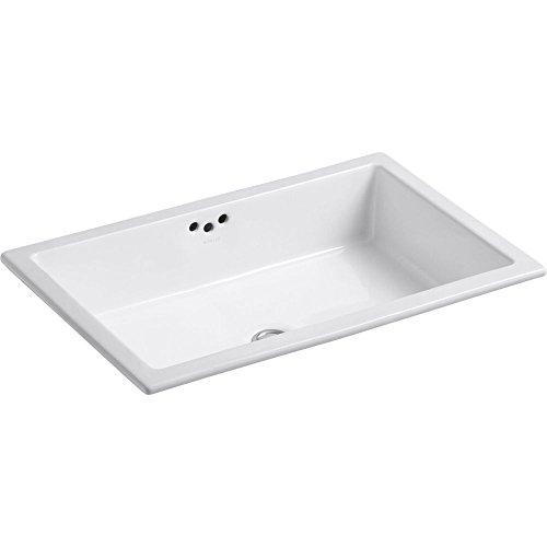 KOHLER K-2297-G-0 Kathryn Undercounter Bathroom Sink with Glazed Underside, White