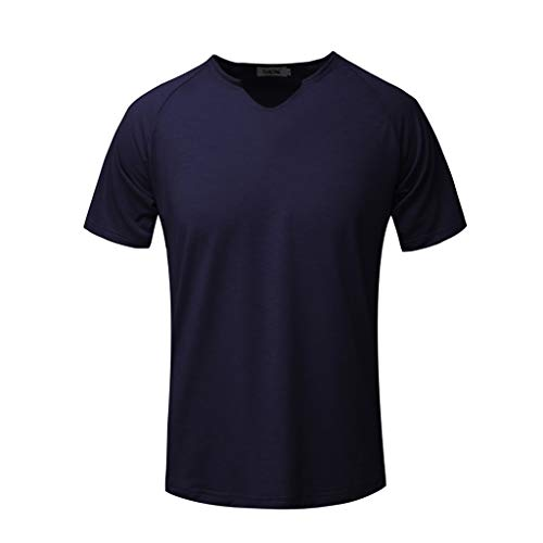 Dainzuy Men's Athletic T-Shirt Solid Comfortable Slim Short Sleeve Shirts V-Neck Multicolor Multi-Code Sport Tops Tees Navy