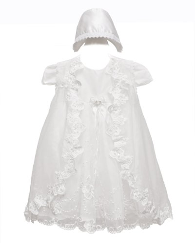 White Baby Girls Special Occasion Laced Floral Dress Hat Set