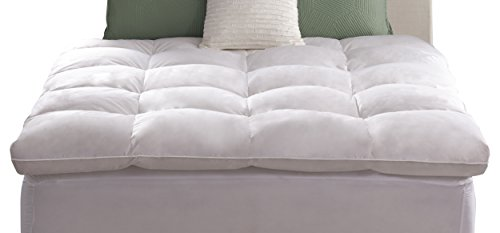 Pacific Coast Feather Company 55879 Luxe Loft Baffle Box Feather Bed, Natural-fill Mattress Topper, Hypoallergenic, California King (Feather Bed Mattress Topper)
