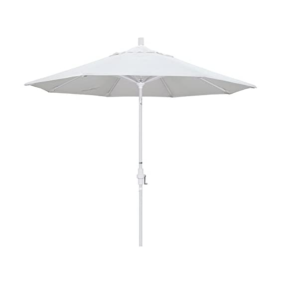 California Umbrella 9' Round Aluminum Market Umbrella, Crank Lift, Collar Tilt, White Pole, White Olefin - 8 heavy duty aluminum ribs Advanced collar tilt system offering infinity tilt with deluxe crank lift system Canopy is made of olefin fabric - shades-parasols, patio-furniture, patio - 31B9KP352YL. SS570  -