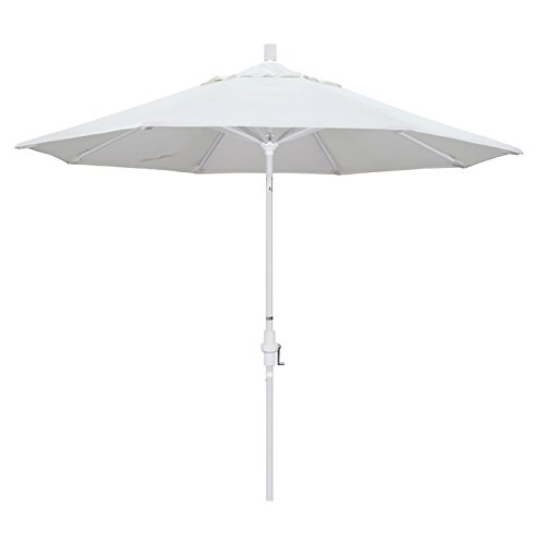 California Umbrella 9' Round Aluminum Market Umbrella, Crank Lift, Collar Tilt, White Pole, White Olefin ()