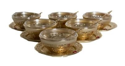Traditional Turkish Style Dessert Bowl Serving Set of 6, Gold Otantik Home Ottoman Design