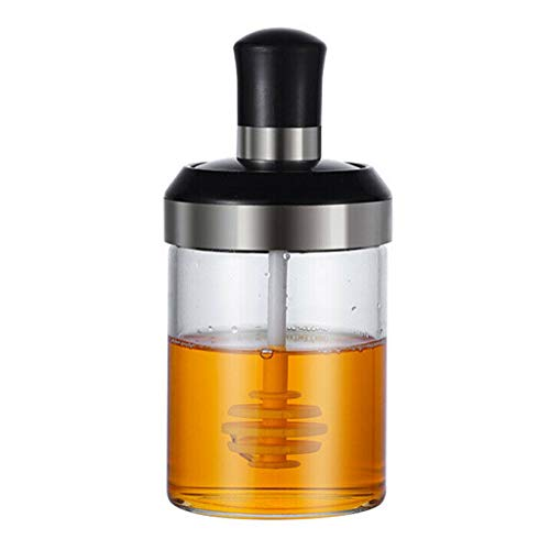 Kitchen Seasoning Bottle, Glass Condiment Jar Storage Box With Spoon, Stainless Steel Flavoring Pot Container Oil/Honey Dispenser Flavouring Vessel 250ml