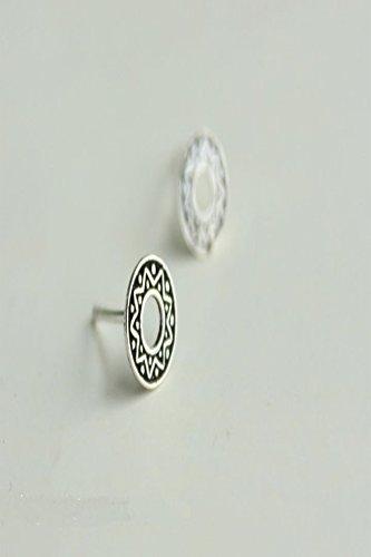 Generic 925 sterling silver earrings women girls lady small fresh retro Thai silver earrings sun totem mysterious mermaid earrings by Generic