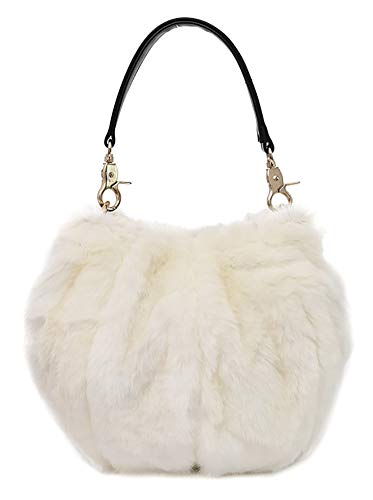 Onfashion Women's Faux Fur Shoulder Handbag Fluffy Bucket Bag Crossbody Evening Purse White