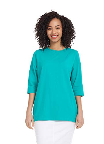 - Esteez Women's Tee - Loose Fitting T-Shirt -3/4 Sleeve Turquoise X-Small