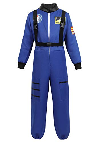 jutrisujo Astronaut Costume for Kids Space Suit Jumpsuit Role Play Costume Boys Girls Teens Toddlers Children's Blue L]()