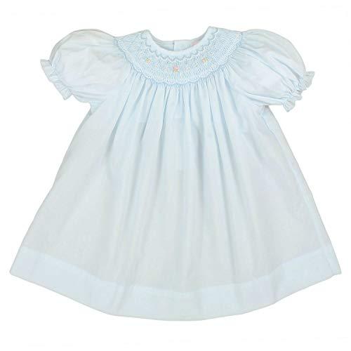 (Petit Ami Baby Girls' Bishop Smocked Short Sleeve Dress, 3 Months, Blue)