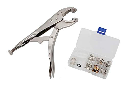 YZS Heavy-Duty Snap Pliers Fastener Tool Kit Snap Installation Set Hand Tools for Fastening, Replacing Metal Snaps, Repairing Boat Covers, Canvas, Sewing, Tarps ()