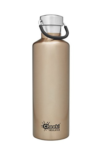 CHEEKI Stainless Steel Water Bottle, Insulated Classic Range (600 ml/20 oz); Reusable Metal Sports Thermos, BPA-Free and Safe Drink Bottle, Cool Thermal Flask for Running, Gym, Cycling and School