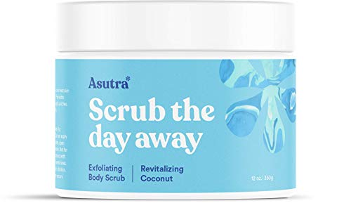 Asutra, Organic Exfoliating Body Scrub, Revitalizing Coconut, 100% Dead Sea Salt Scrub, Ultra Hydrating and Moisturizing Scrub, Skin Smoothing Jojoba, Sweet Almond, and Argan Oils, 12 oz. Jar