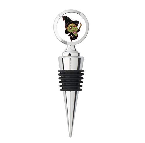 Friendly Creepy Floating Halloween Witch Cartoon Emoji Steel Bottle Stopper Winestopper ()