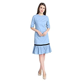 d0a8f197c5e URS Knee Length Denim Dress: Amazon.in: Clothing & Accessories