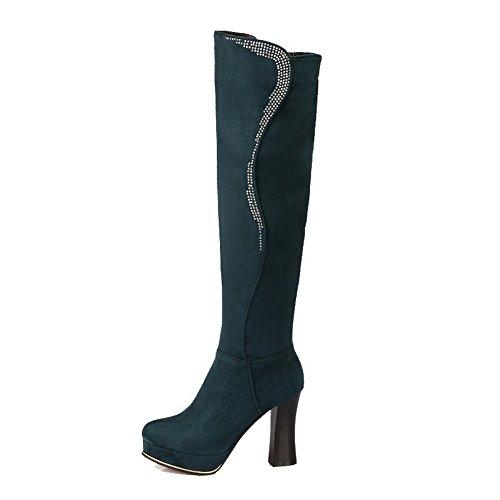 AllhqFashion Damen Eingelegt Hoch-Spitze Hoher Absatz Stiefel mit Beschlagene Strass Dunkelgrün
