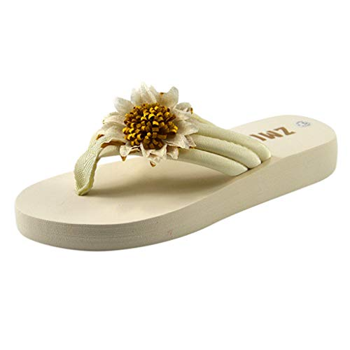 (FengGa Women Thick Bottom Slipper Fashion Casual All-Purpose Hermitage Non-Slip Sunflower-Cake Slippers Shoes White)