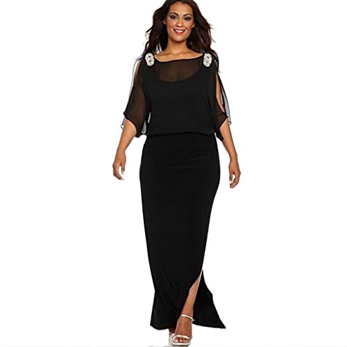 (Dress for Women Solid Color Long Sleeve Slit Off Shoulder Maxi Girl Split Side Dresses(Black,3XL))