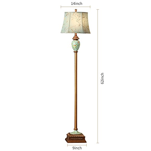 LampRight Classic European Country Style Hand Painted Retro Floor Lamp 64 inch - Traditional Elegant Resin Base with High Grade Embroidery Chameleon Imitation Silk Fabric Lampshade by Lamp Right (Image #2)