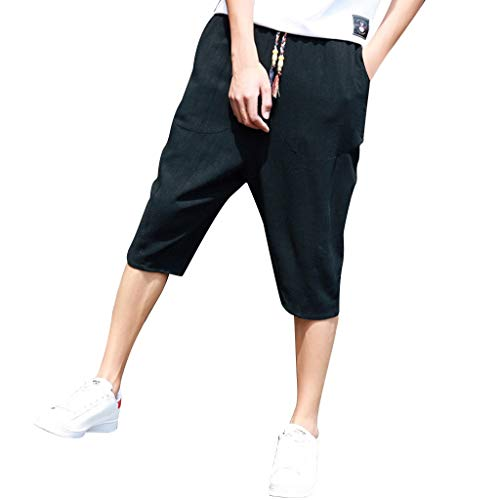AHAYAKU Men's Summer Pure Colour Cotton Hemp Pants Fashion Comfortable Trouser Black
