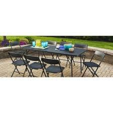 Mainstay Easy Carry Handle Black Strong and Sturdy 6 Foldable Table with Seats up to 8 Person 6 Foot, Black