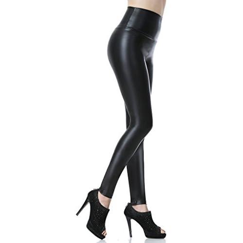 chollos oferta descuentos barato Everbellus Leggings de piel sintética para mujer talle alto negro negro S
