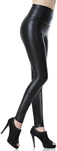 Everbellus Leggings Simili Cuir Taille Haute Sexy Femme Pantalon