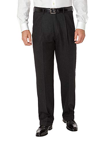 Paul Fredrick Men's Wool Flannel Pleated Pants Black 35