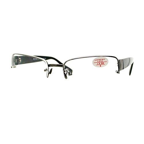Clear Lens Glasses Bifocal Reading Lens Half Rim Rectangular Gunmetal - With Glasses Clear Bifocals