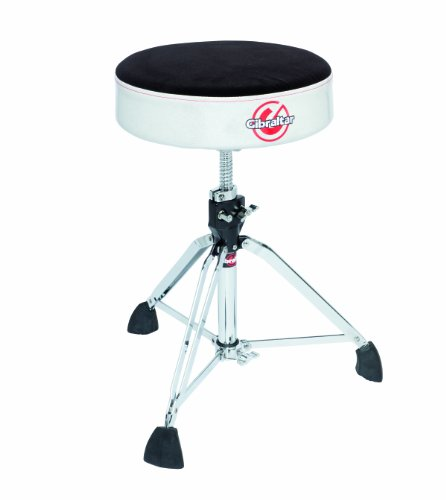 Gibraltar 9608RSW Professional Cloth Top Round Drum Throne, Silver White Sparkle - Drum Pro Throne