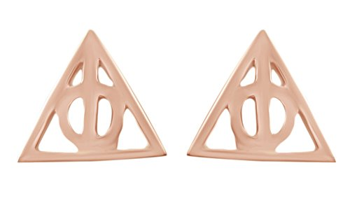 Over Gold Silver Stud (Harry Potter Deathly Hallows Stud Earrings In 14K Rose Gold Over Sterling Silver)