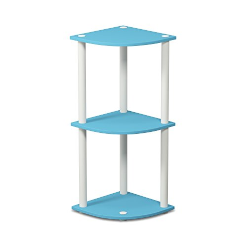 Furinno 12077LBL/WH Turn-N-Tube 3-Tier Corner Reversible Multipurpose Shelf, Light Blue/White