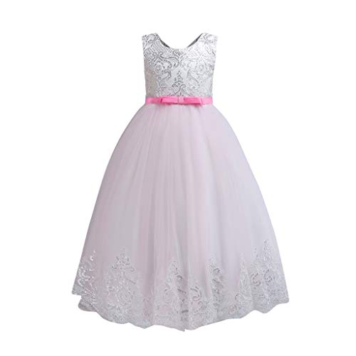 - ❤️ Mealeaf ❤️ Baby Girls Sleeveless Flower Floral Sequin Dress Lace Dresses Formal Dress(Pink,160)
