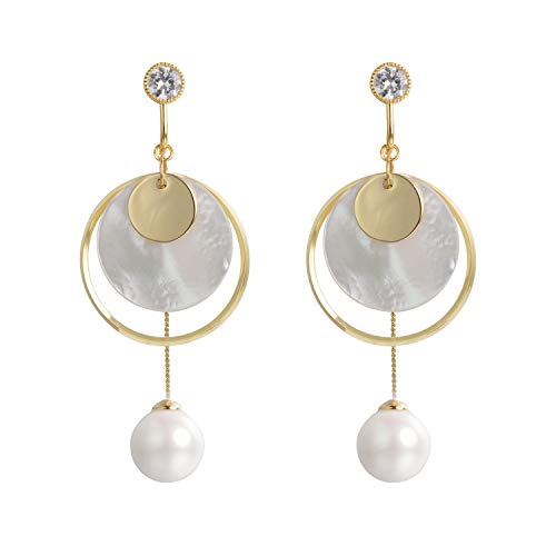 Yoursfs Screwback Clip on Earrings For Women Adjustable Circle Shell Dangle Earrings with Pearl