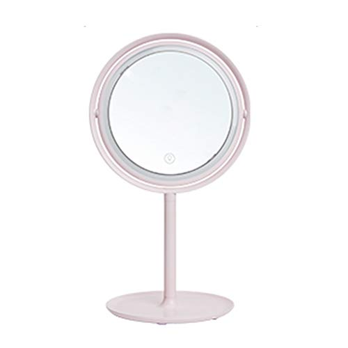 Mirrors Pink Round Makeup Rotatable Desktop Single Rechargeable Vanity Can Carry Gift (Color : Pink, Size : 21.917.538.9cm) ()
