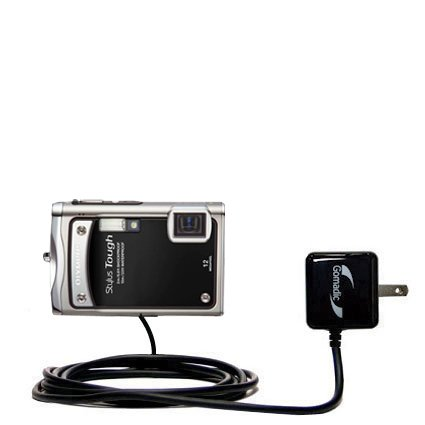 Gomadic Intelligent Compact AC Home Wall Charger suitable for the Olympus STYLUS TOUGH 8000 - High output power with a convenient, foldable plug design - Uses TipExchange Technology