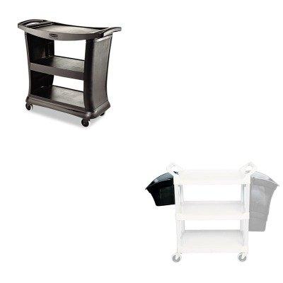 KITRCP335488BLARCP9T6800BK - Value Kit - Rubbermaid Black High Capacity Executive Service Cart (RCP9T6800BK) and Rubbermaid Black Utility Cart Bin, 4 Gallon (RCP335488BLA) (Executive Service Cart)