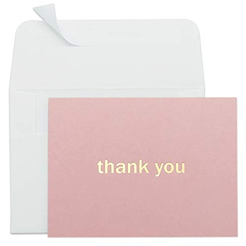 Thank You Cards - 50 Pack Thank You Card Bulk, Blank Thank You Notes with Self-Seal Envelopes - Gold Foil Letterpress - Perfect for Wedding, Bridal Shower, Baby Shower, Christmas and More (Pink)